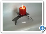 Decorative wrought iron Japanese style table candle holder.
