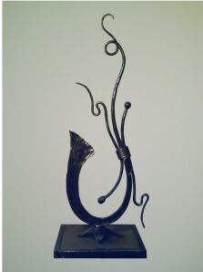 Artist Blacksmith Forged Ironwork                               Table Sculpture image.